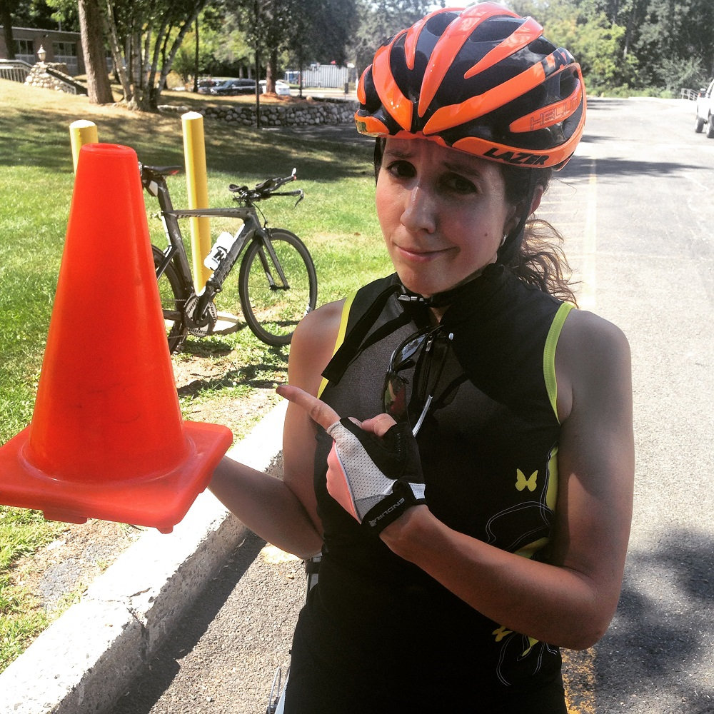 Maybe it's the orange helmet that is causing the traffic cone confusion