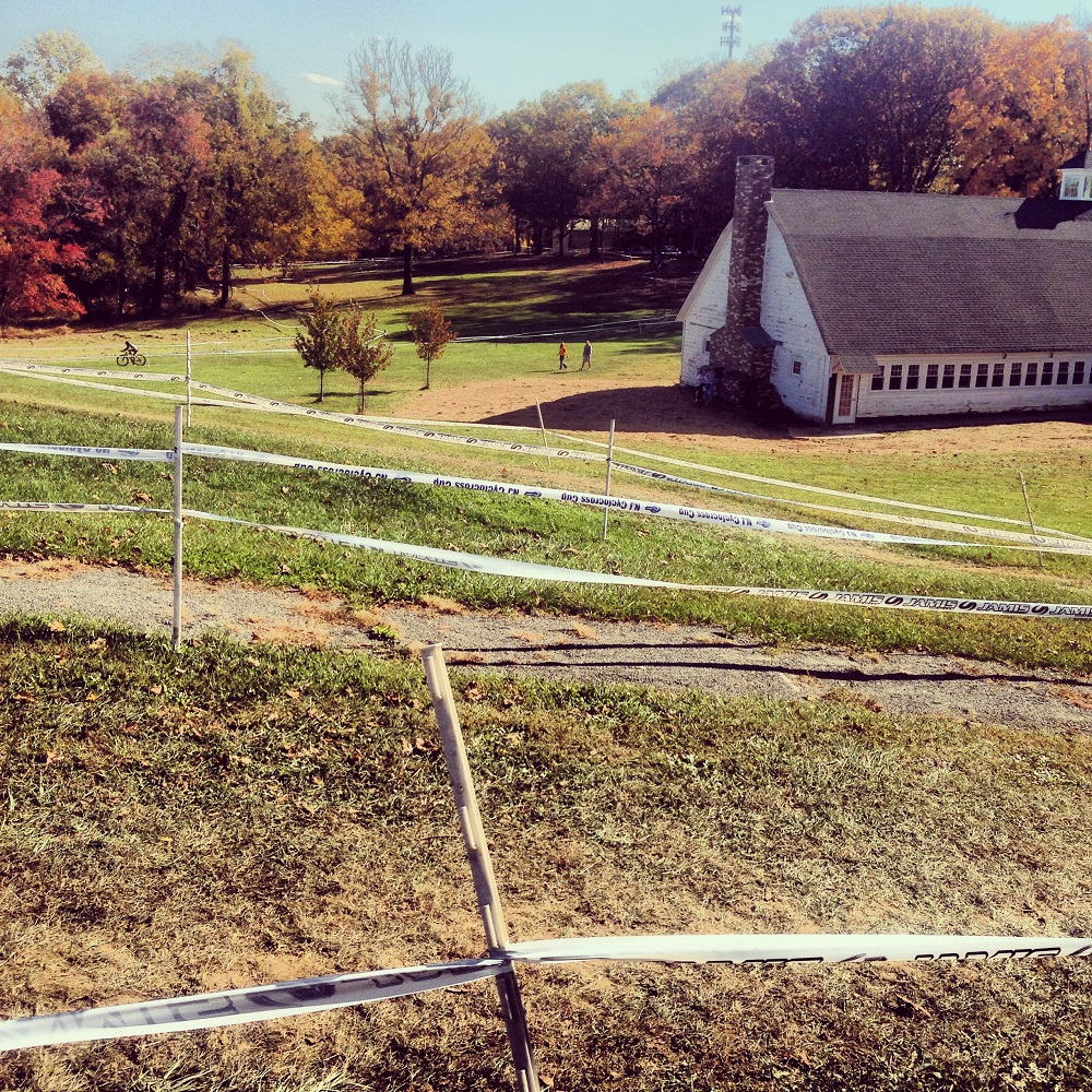 A portion of a taped off cyclocross course.