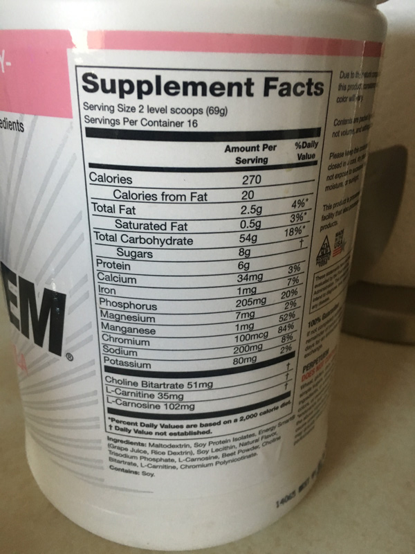 Be sure to read the nutrition label and ingredients before purchasing a drink mix or other nutritional product.